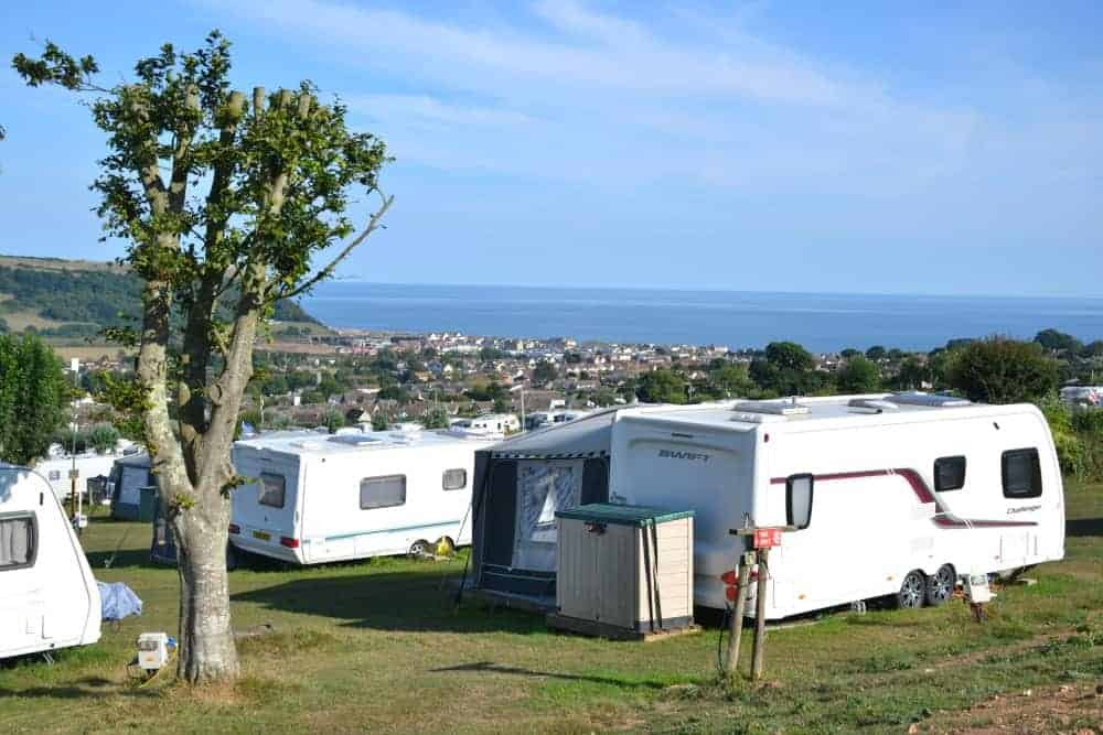 View from touring pitches at Manor Farm in Seaton