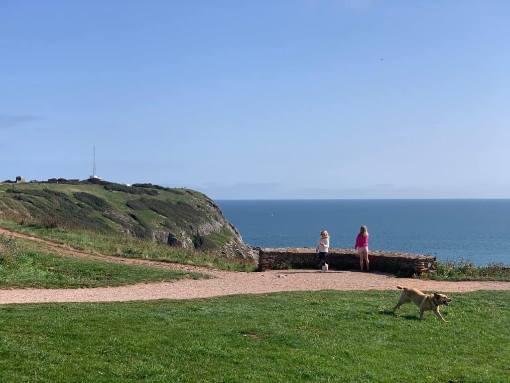 Children and dog at Berry Head Nature Reserve in South Devon - one of the places in Devon you can go in lockdown